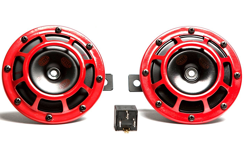 Hella Supertone Horn Kit: Red 300/500HZ