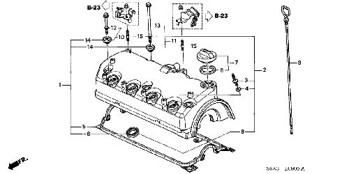 01-05 HONDA CIVIC hose bracket a//c power steering valve cover