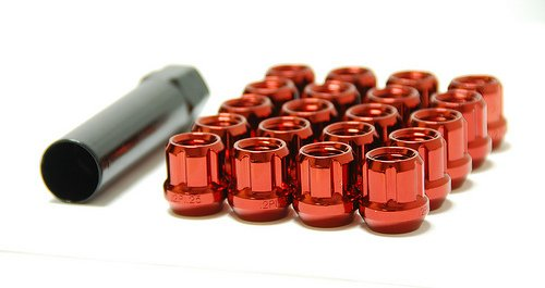 Muteki Open Ended Lug Nuts: Red