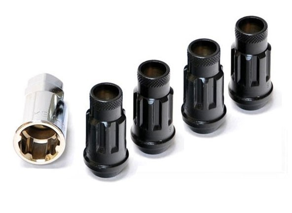Muteki SR48 Open Ended Locking Lug Nuts 4 Pack: Black M12 x 1.25