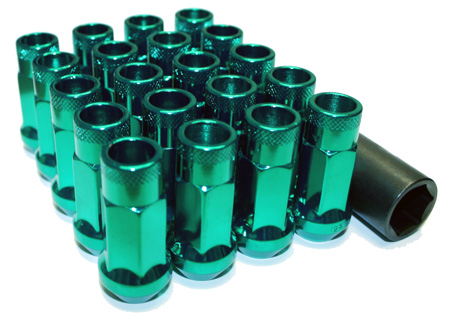 Muteki SR48 Open Ended Lug Nuts 20 Pack: Green M12 x 1.5