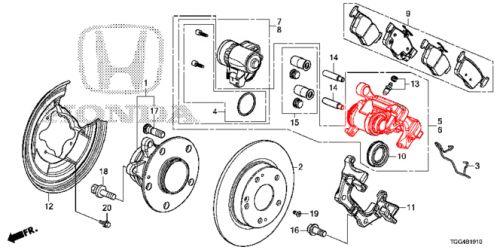 honda oem 17-18 civic type-r red right rear brake caliper-a1
