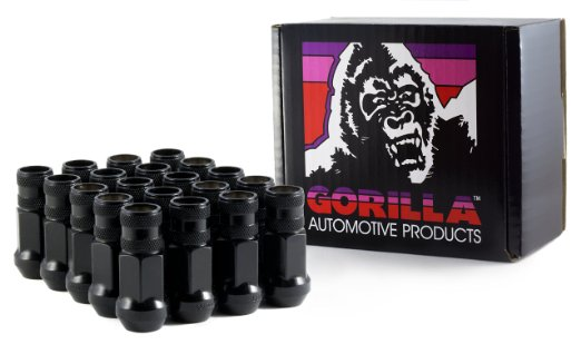 Gorilla Black Chrome Open Steel Racing Lug Nuts: 20 Pack M12 x 1.5