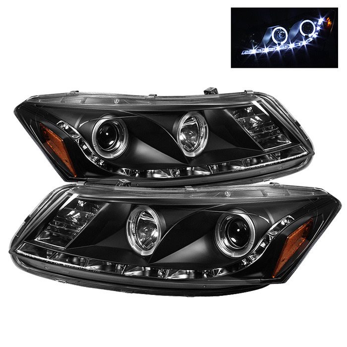 Spyder Projector LED Halo DRL Black Headlights