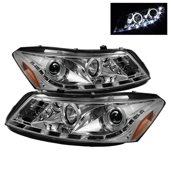 Spyder LED Halo DRL Chrome Projector Headlights