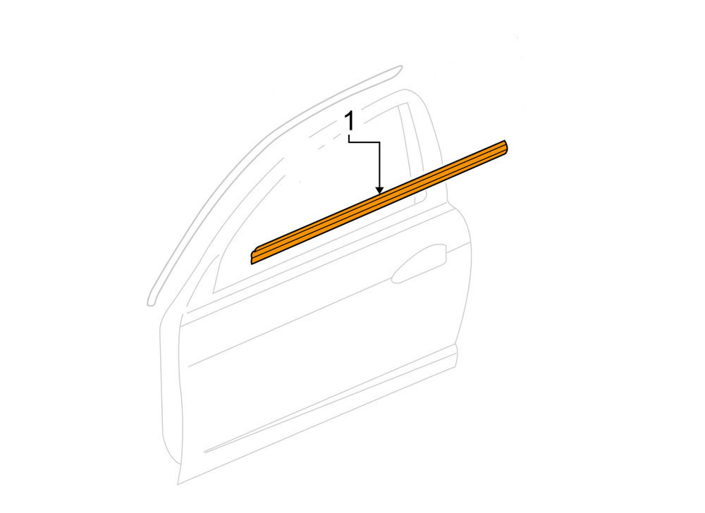 Honda 02-06 RSX Driver Side Door Molding Assembly