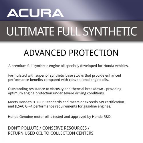 Honda/Acura 5W-30 Full Synthetic Motor Oil (Quart): K
