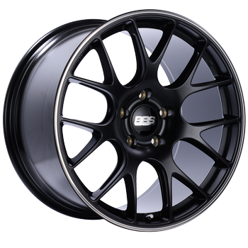 BBS CH 128 Black Center w/ Polished S.S. Lip: 18x8 +38