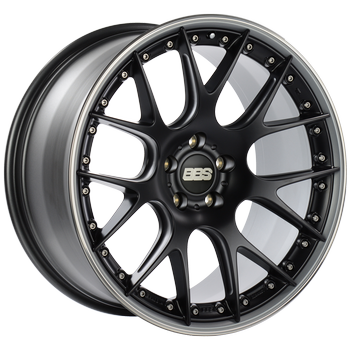 BBS CH 605 Satin Black Center w/ Polished S.S. Lip: 21x10 +38