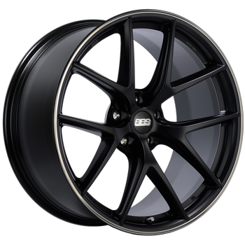 BBS CI 250 Black Center w/ Polished S.S. Lip: 19x10 +25