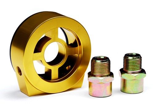 Blox Racing Oil Filter Block Adapter: Gold-A1