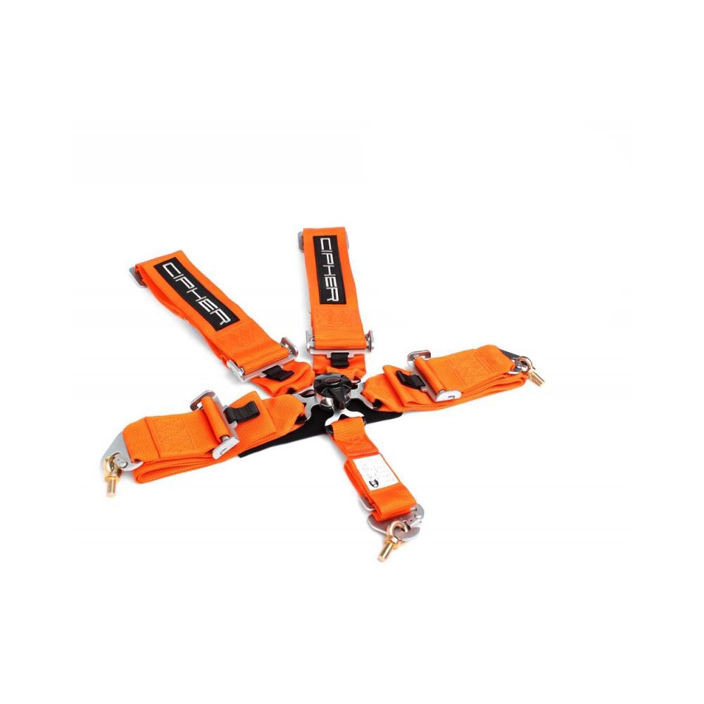 Cipher Racing Orange 5 Point Camlock Racing Harness