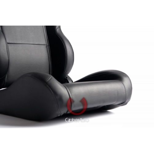 Cipher Auto CPA1001 All Gray Leatherette Racing Seats Pair