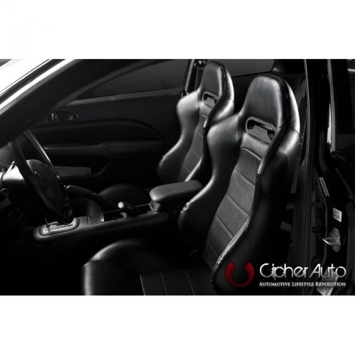 Cipher Auto Black Cloth with Suede Insert Universal Racing Seats Two Seats CPA1013