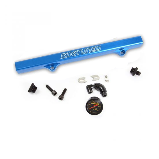 K-Tuned Blue Fuel Rail w/ -6AN Fitting, -8AN Plug, Center Gauge