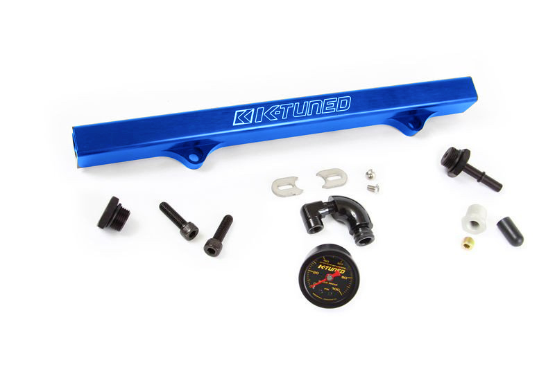 K-Tuned Blue Fuel Rail w/ EFI Fittings, IAA Delete and Center Gauge