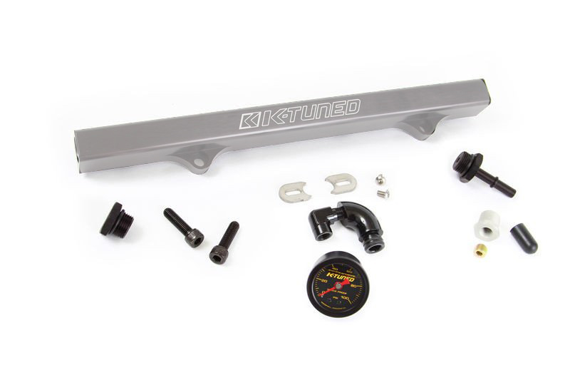 K-Tuned Brushed Fuel Rail w/ EFI Fittings, IAA Delete/Center Gauge