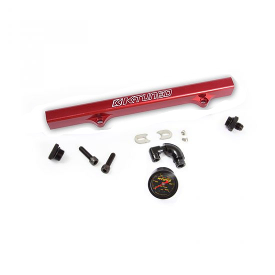 K-Tuned Red Fuel Rail w/ -6AN Fitting, -8AN Plug, Center Gauge
