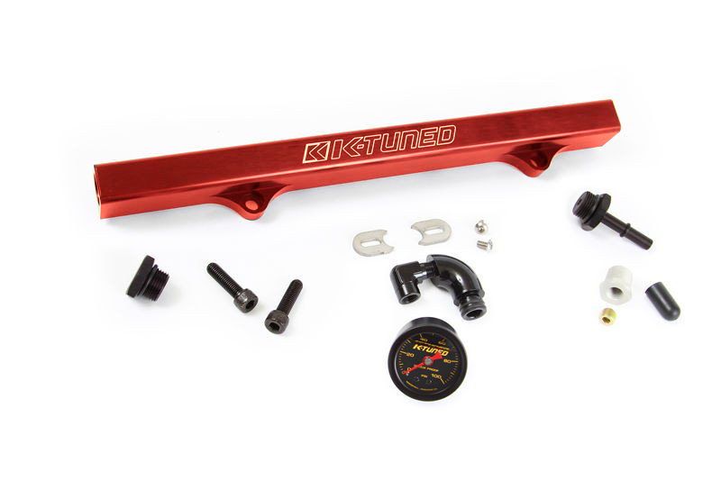 K-Tuned Red Fuel Rail w/ EFI Fittings, IAA Delete, Center Gauge