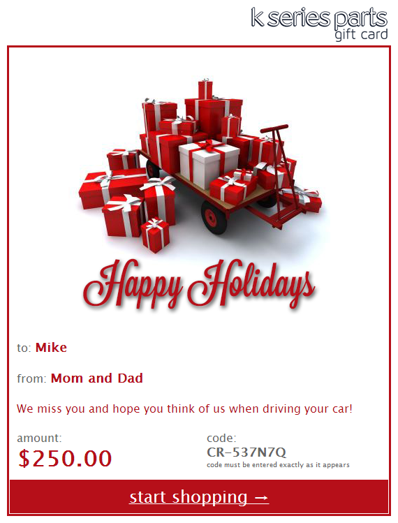 K Series Parts Happy Holidays Gift Card
