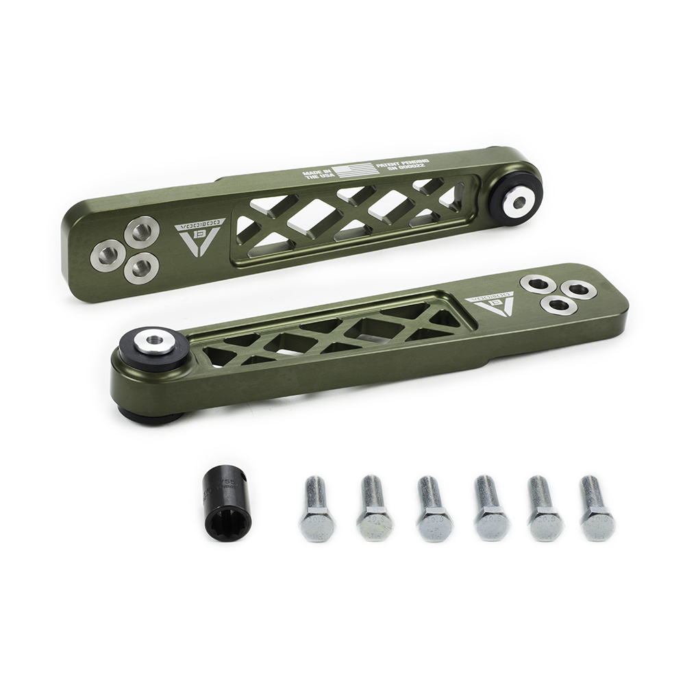 Voodoo13 01-05 Civic Rear Lower Control Arms: Hard Green