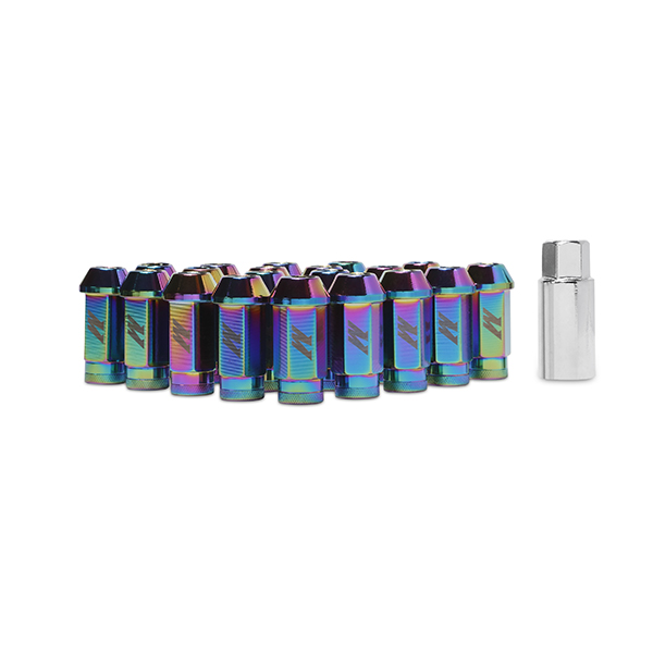 Mishimoto Aluminum Lug Nuts with Lock: Neo Chrome Red M12 x 1.5