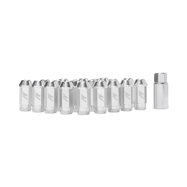 Mishimoto Aluminum Lug Nuts with Lock: Silver Red M12 x 1.5