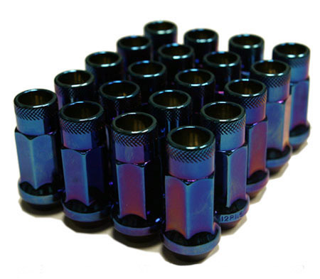 Muteki SR48 Open Ended Lug Nuts 20 Pack: Burning Blue Neon