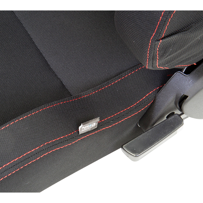 NRG Black With Red Stitching Type-R Cloth Sport Seats: 2 seats-A5