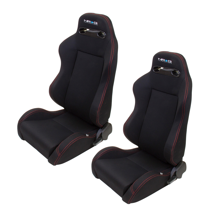 NRG Black With Red Stitching Type-R Cloth Sport Seats (Pair)