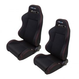 NRG Black With Red Stitching Type-R Cloth Sport Seats: 2 seats