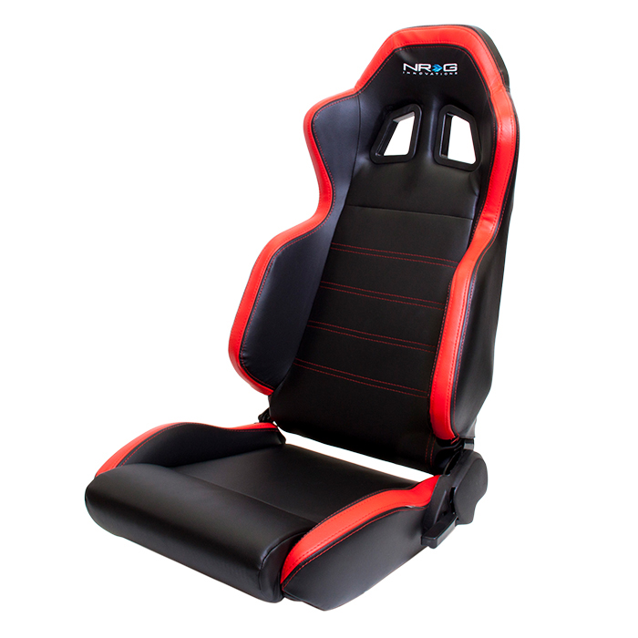 NRG PVC Sport Seat: Black with Red Stitching and Side Contrast (Pair)