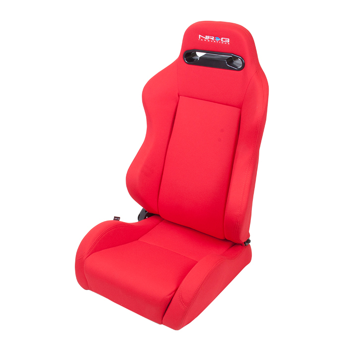 NRG Type-R Cloth Sport Seats: Red with Red Stitching (Pair)