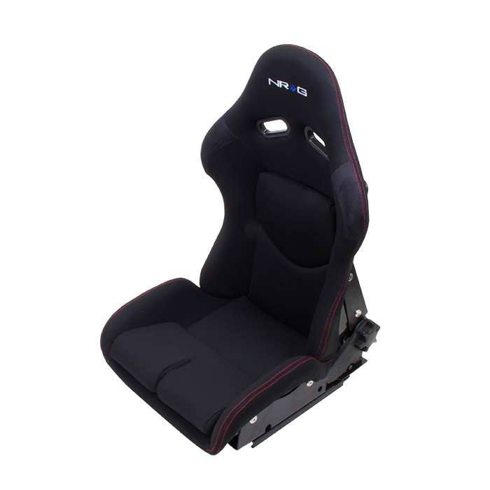 NRG Reclinable FRP Bucket Seat: Black Seat - Black with Red Stitching