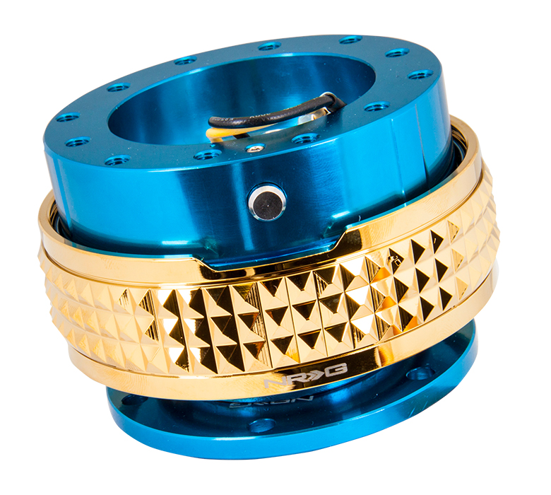 NRG Blue Body with Chrome Gold Ring 2.1 Quick Release