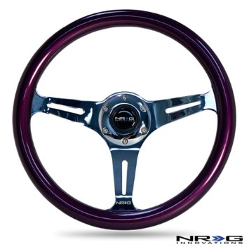 NRG Colored Classic Wood Grain Steering Wheel: Purple with Chrome