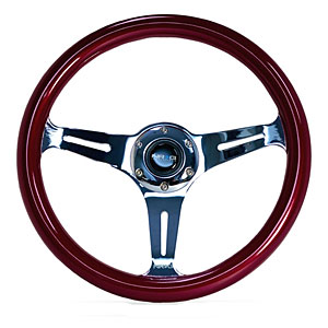 NRG Colored Classic Wood Grain Steering Wheel: Red with Chrome