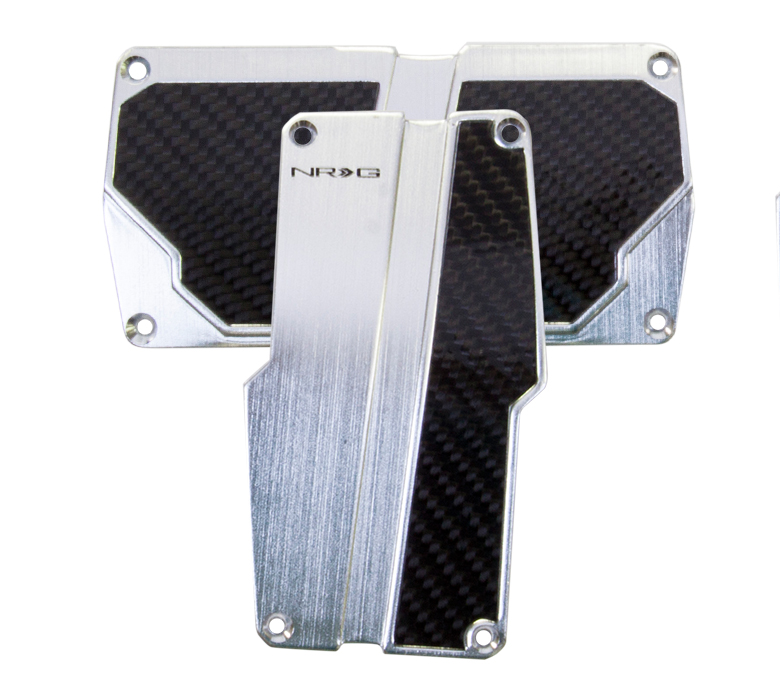 NRG Silver and Carbon Fiber Sport Pedal Set: Automatic