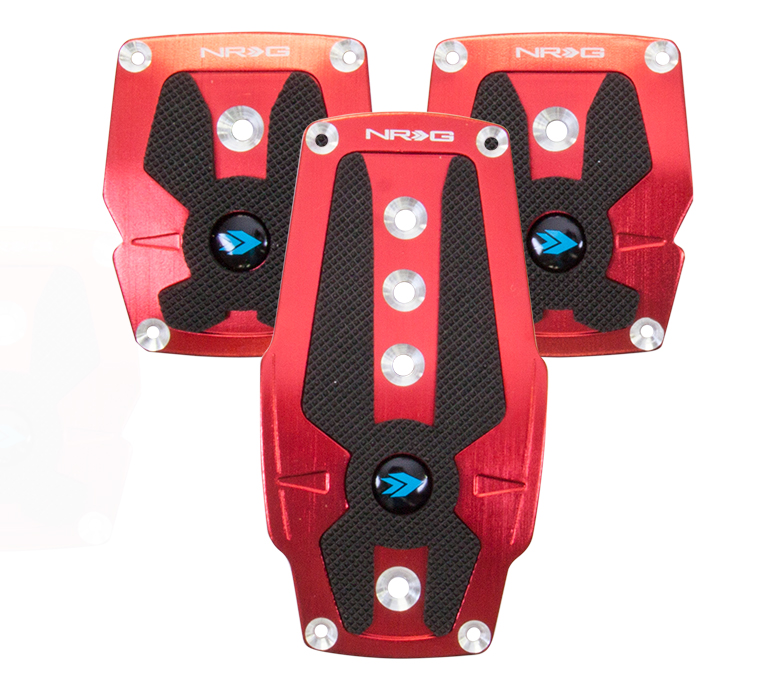 NRG Red Pad Cover Plate Racing Pedals Manual Transmission