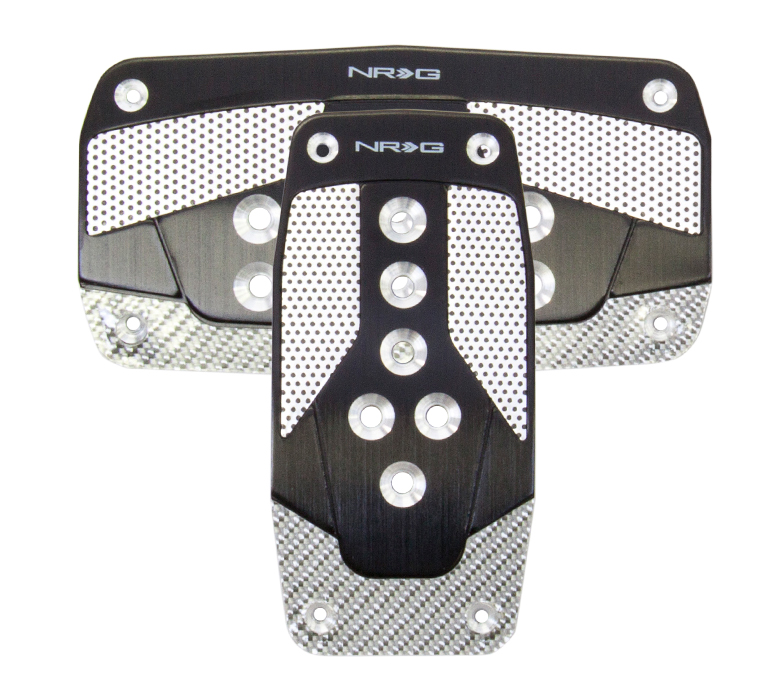 NRG Pedal Pad Cover Plates: Black w/ Silver Carbon AT