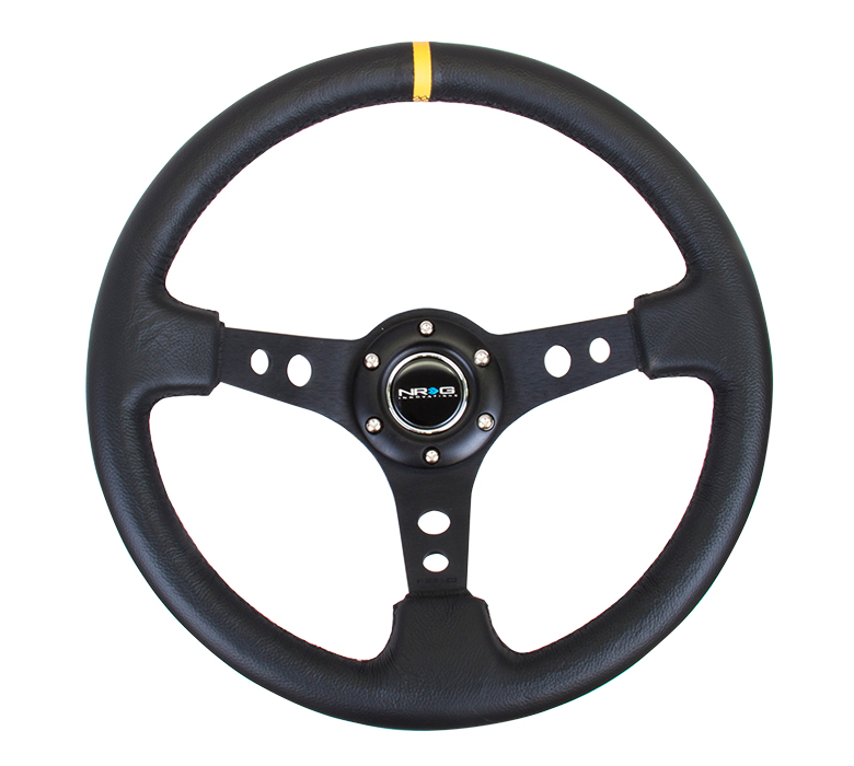 NRG Deep Dish 350mm Leather Steering Wheel w/ Yellow Center Mark