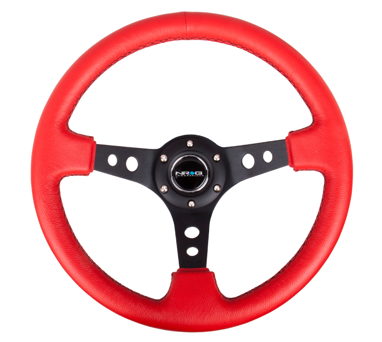 NRG Red Leather 350mm Deep Dish Steering Wheel