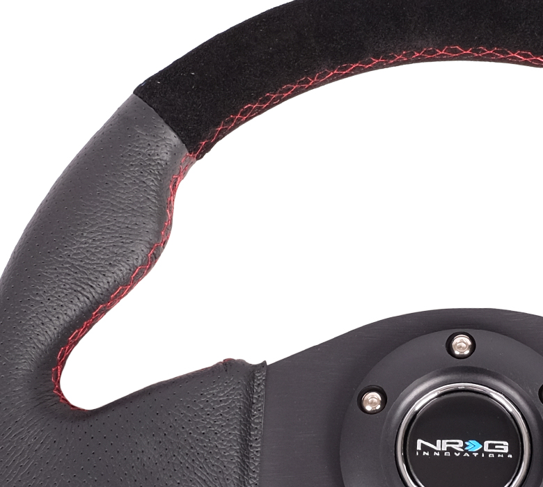 NRG Black Leather and Suede Steering Wheel-A3