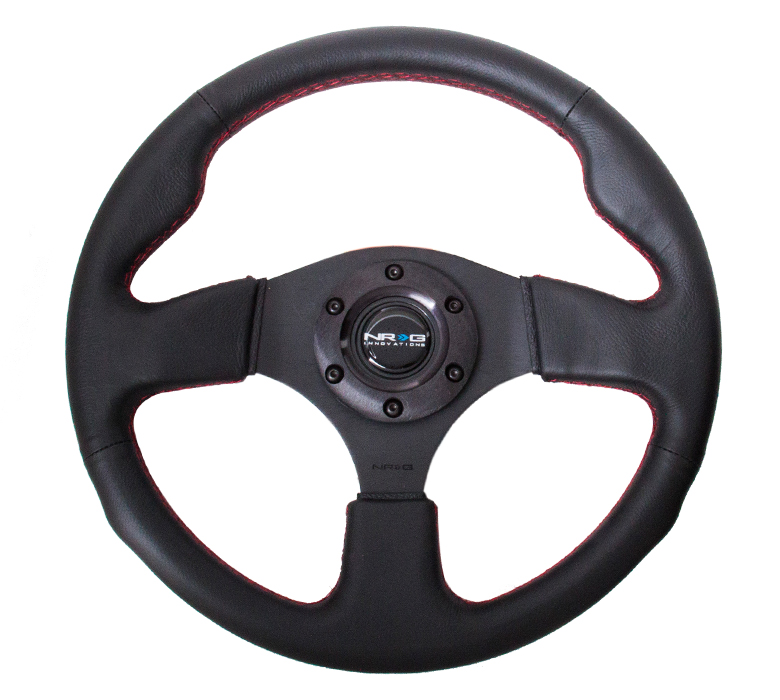 NRG Race Series 320mm Leather Steering Wheel: Red Stitching
