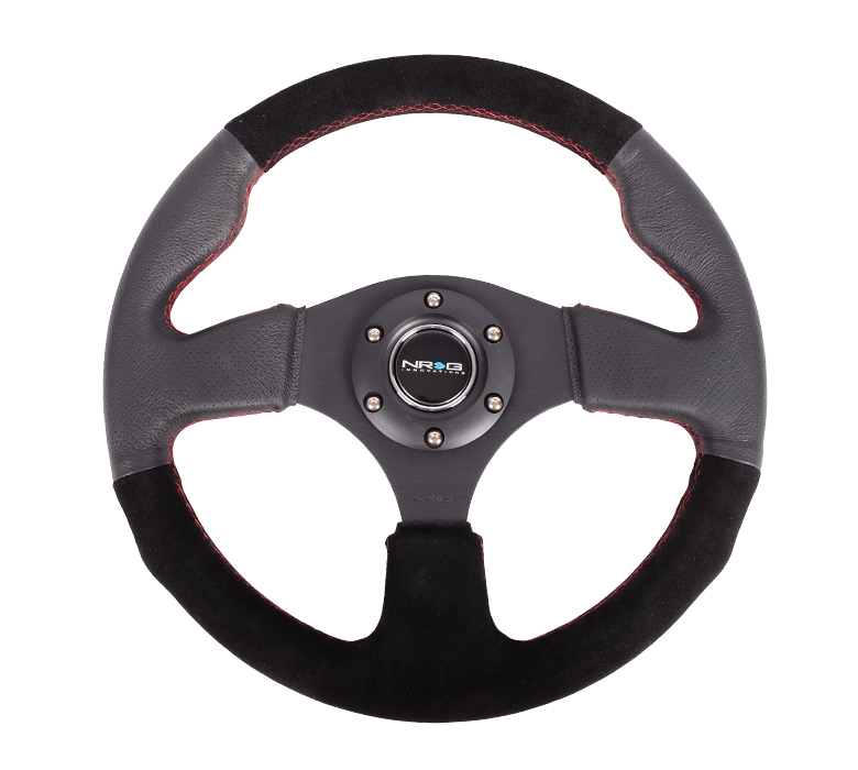 NRG Black Leather and Suede Steering Wheel
