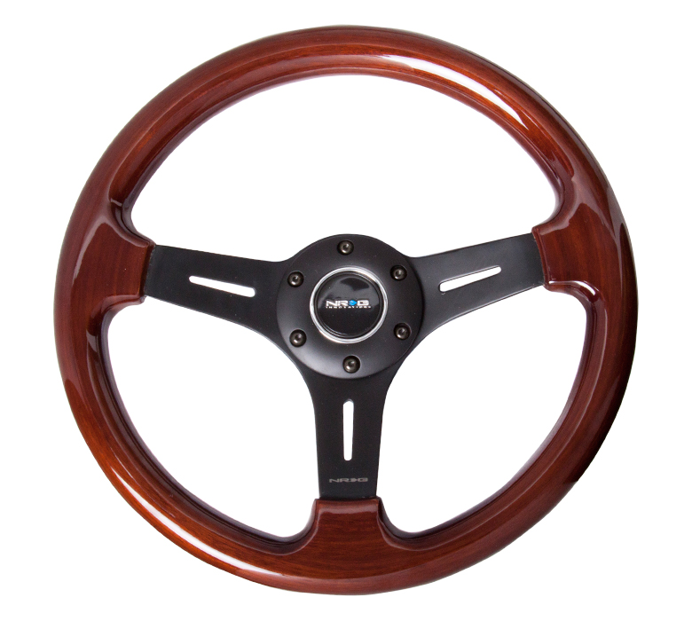 NRG Classic Wood Grain 330mm Steering Wheel: Black 3 Spoke Center