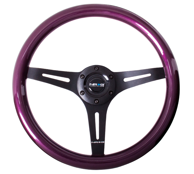 NRG Purple Classic Woodgrain 350mm Steering Wheel