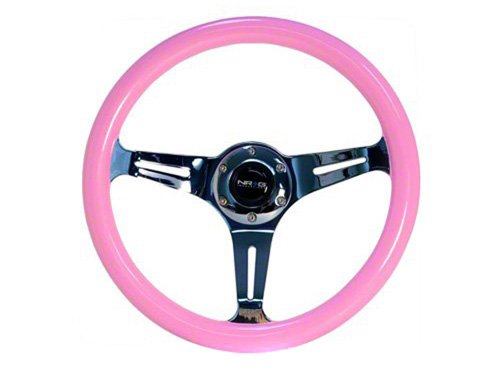 NRG Colored Classic Wood Grain Steering Wheel: Pink with Chrome