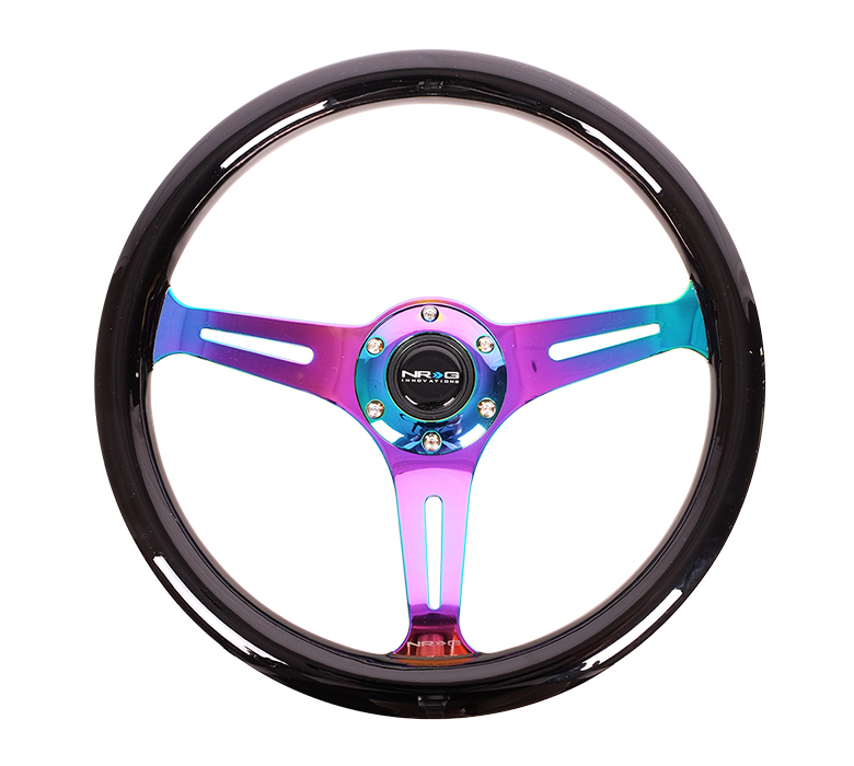 NRG Black Classic 350mm Woodgrain Steering Wheel