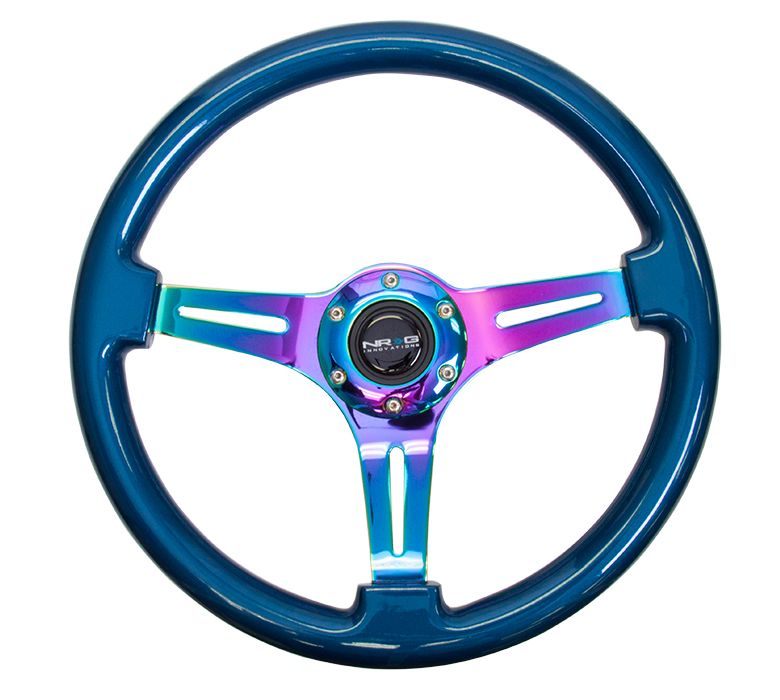 NRG Classic 350mm Wood Grain Steering Wheel: Blue Wood with Neochrome